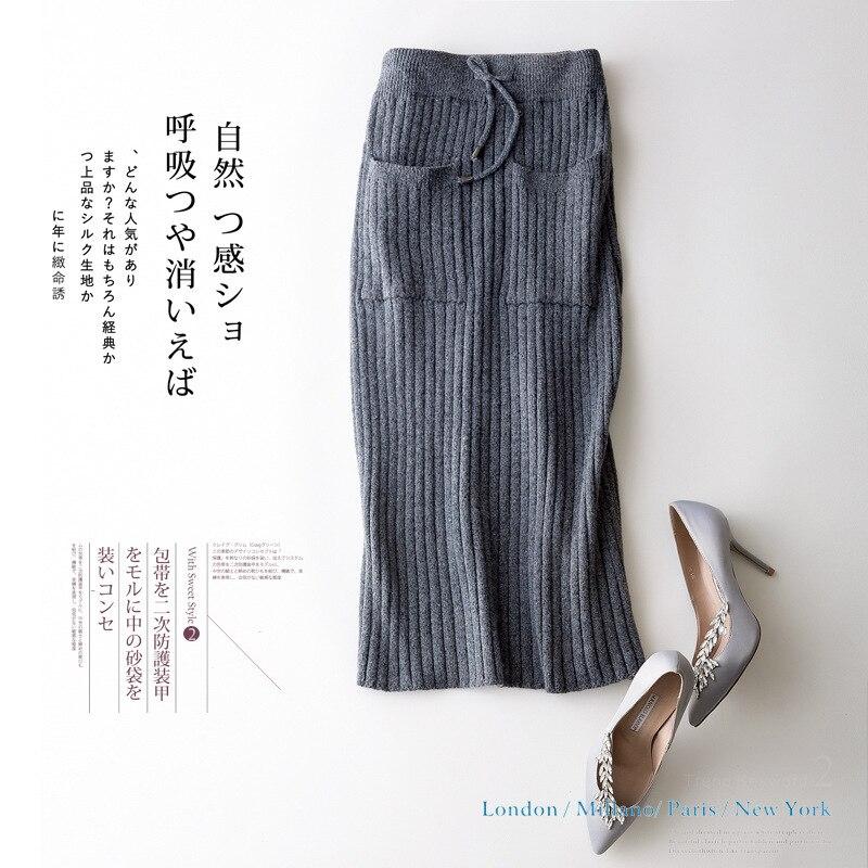 2018 Nouveau Style Tricot Jupe Solide Couleur Simple Tous Assortie Tempérament Taille Haute Poche Mi-Veau Paquet hanche jupe jupe droite