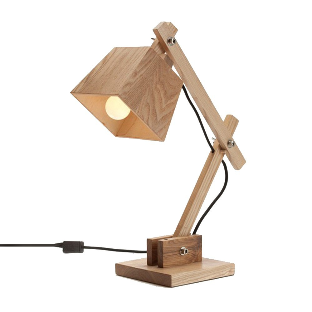 Fantastic Traditional Handmade Wooden Table Lamp With Square Bell