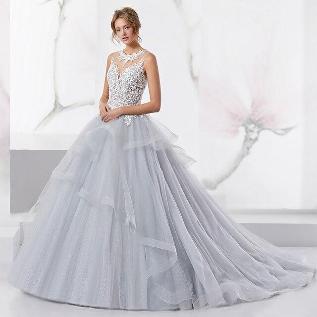 9e59676e20 Szary Suknia Balowa Tiul Suknie Ślubne z Białym Aplikacje Warstwowych Dolny Suknie  Ślubne See Through Backvestido