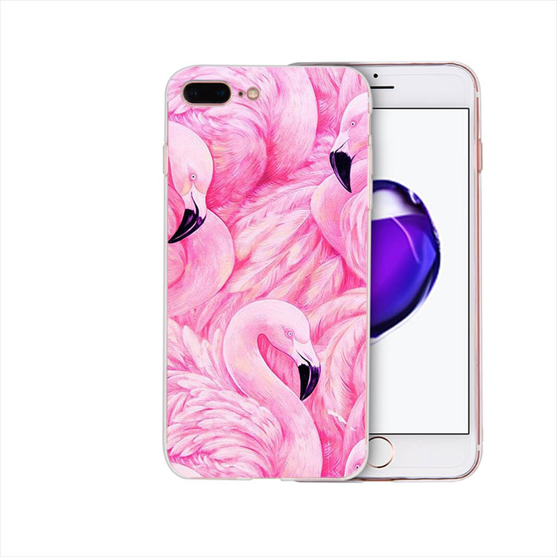 IMIDO Funny Lovely Art flamingo design Soft Transparent fitted phone case For iPhone XR XS X XSmax 7 8 6s 6plus 6 7 8 5 5S Shell in Half wrapped Cases from Cellphones Telecommunications