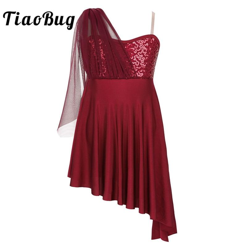 TiaoBug Girls Contemporary Lyrical Dance Costumes Kids Adjustable Straps Sequins Side Split Irregular Hem Ballet Leotard Dress