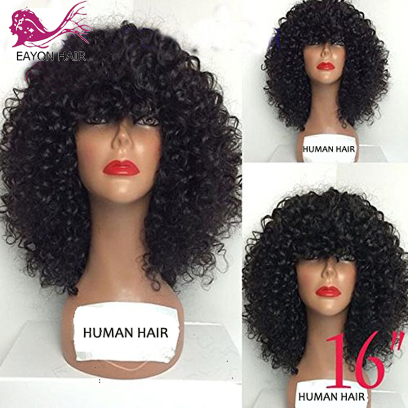 EAYON Curly Human Hair Lace Front Wigs 130% Density Brazilian Kinky Curly Wig with Full Bangs for Black Women Remy Hair-in Human Hair Lace Wigs from Hair Extensions & Wigs