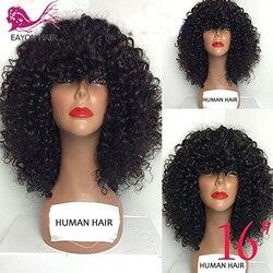 EAYON, кудрявые человеческие волосы, кружевные передние парики, 130% плотность, бразильский кудрявый парик с полной челкой для черных женщин, во...