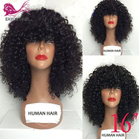 EAYON Curly Human Hair Lace Front Wigs 130% Density Brazilian Kinky Curly Wig with Full Bangs for Black Women Remy Hair
