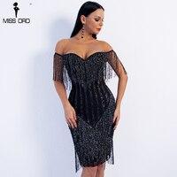 Missord 2018 Sexy Spring and Summer Off Shoulder Striped Glitter Elegant Tassel Party Dress FT8781 1