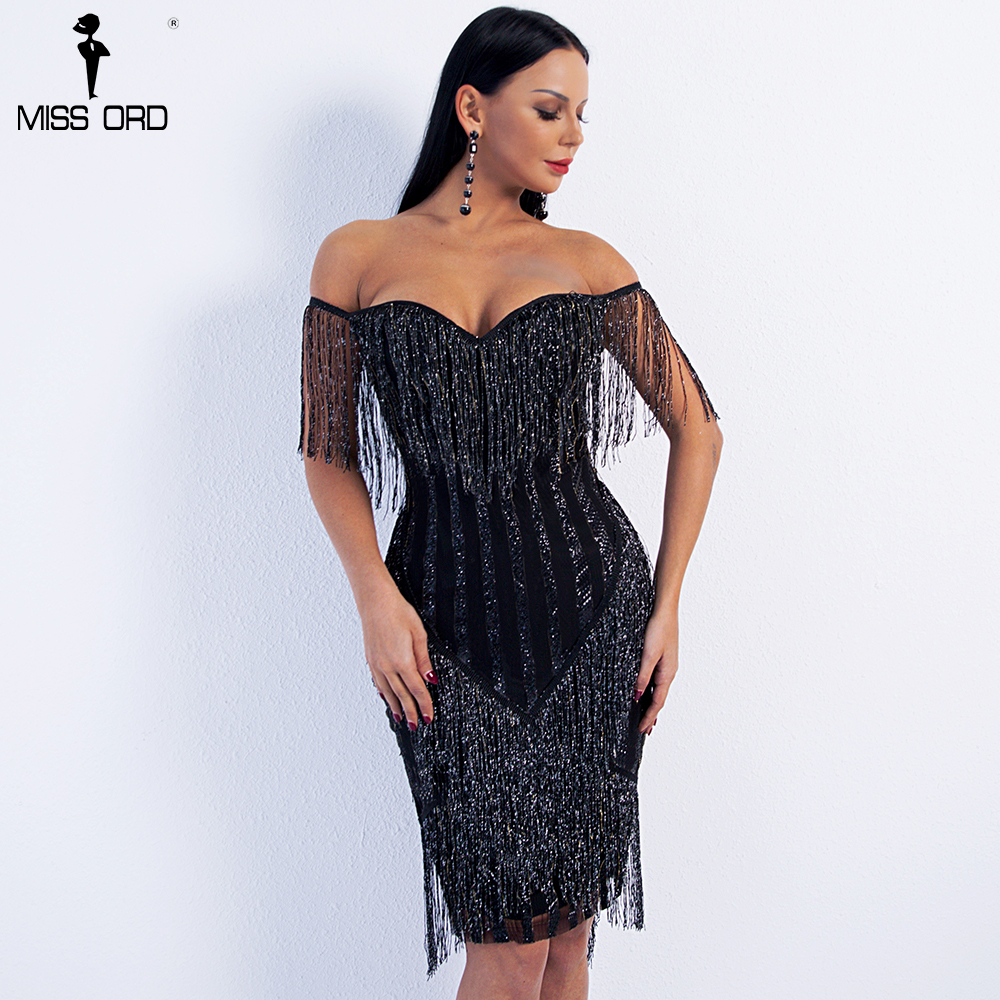 Missord 2019 Sexy Spring And Summer  Off Shoulder Striped Glitter Elegant  Tassel Party Dress FT8781-1
