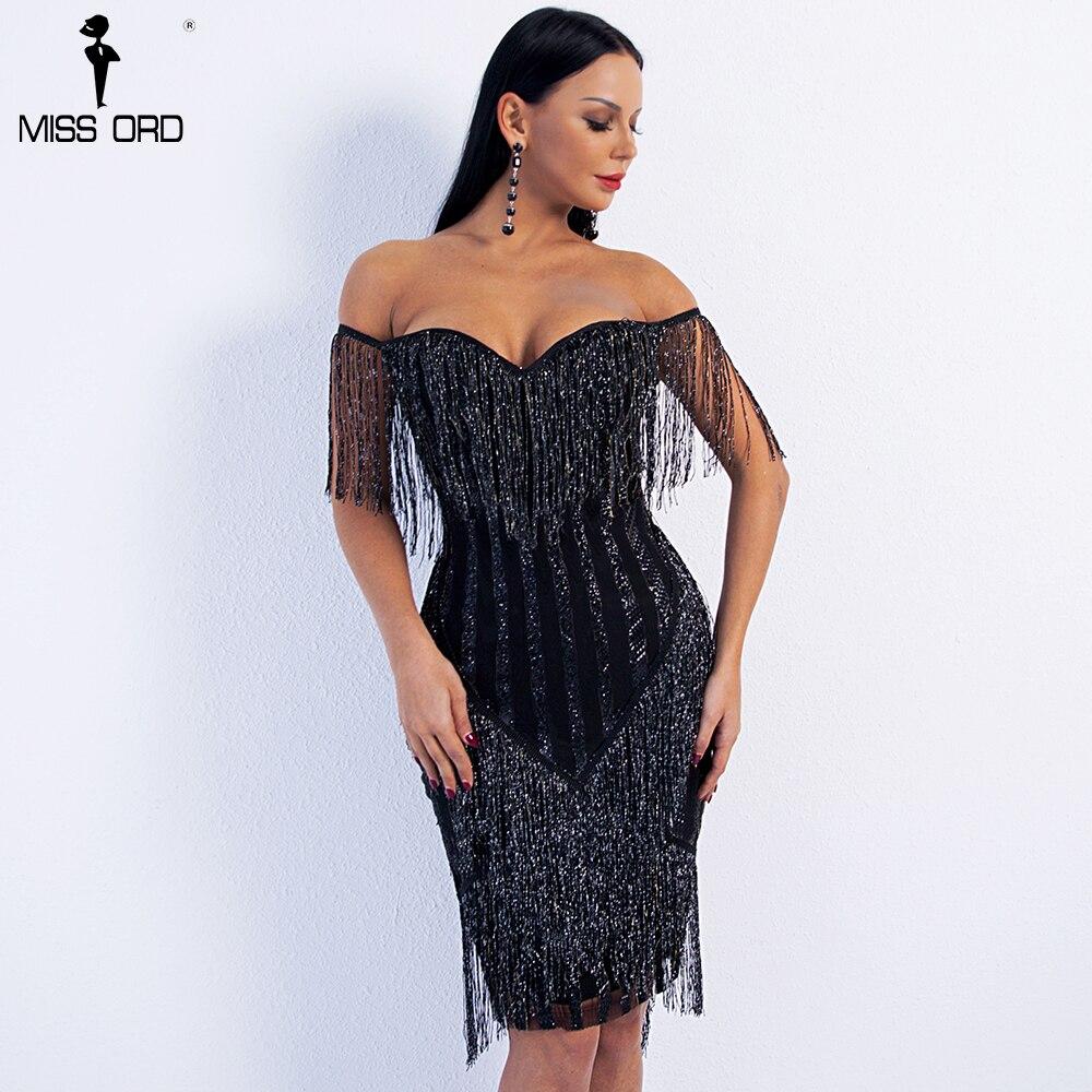Missord 2020 Sexy Spring And Summer  Off Shoulder Striped Glitter Elegant  Tassel Party Dress FT8781-1