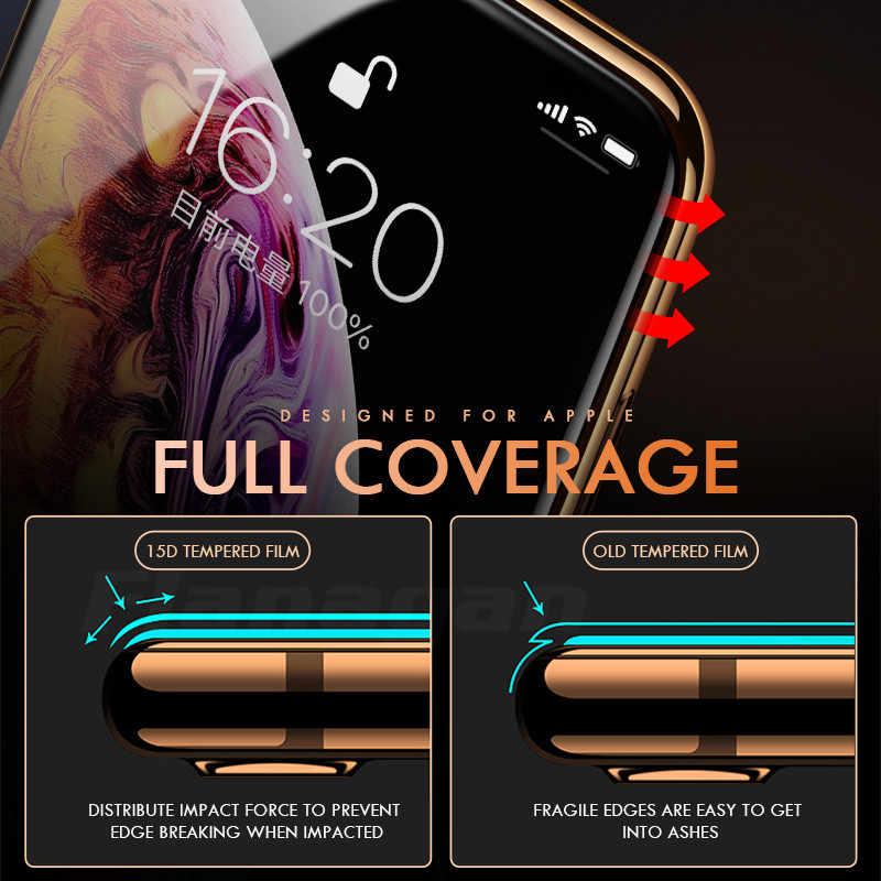 Cristal Protector 15D para iPhone 6 6s 7 8 plus XR X XS cubierta completa de vidrio iPhone 11 Pro Max Protector de pantalla de vidrio templado
