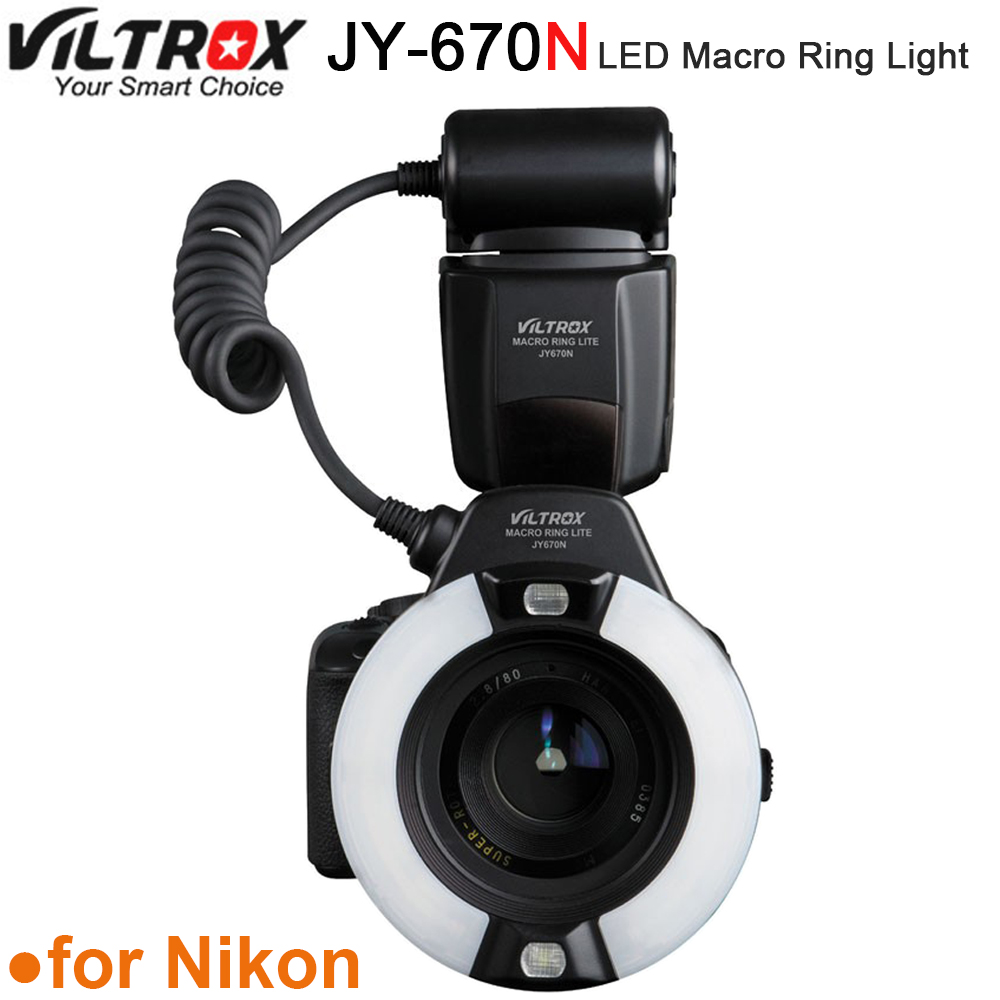 Viltrox JY-670N Camera Macro Close-Up TTL Ring Flash Speedlite for Nikon D3200 D3300 D5200 D5500 D7200 D800 D700 D90 DSLR viltrox jy 610nii ttl lcd speedlite camera flash for nikon d700 d800 d810a d3100 d3200 d5500 d5600 d7500 d7200 d500 d5 d90 d610