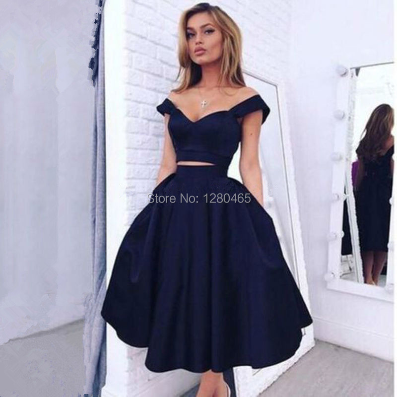 cdbc7dffaffff Navy Blue Short 2 Piece Homecoming Dresses 2016 Cocktail Dress 8th Grade  Prom Dresses Robe Cocktail Courte