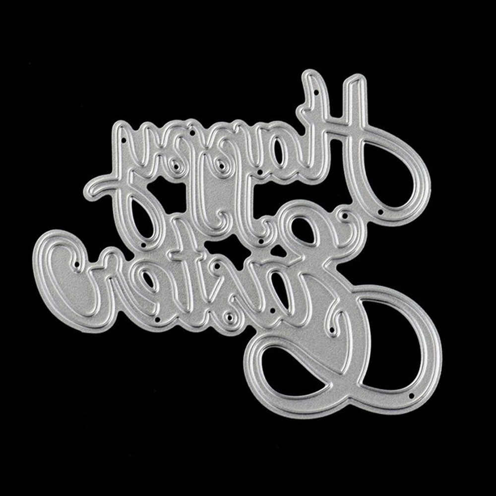 Happy Birthday Metal Cutting Dies Card Frame  Scrapbook Card Album Paper Craft Home Decoration Embossing Stencil Cutter
