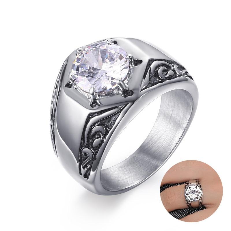Мужское кольцо с гравировкой, готическое, с цветами, из нержавеющей стали