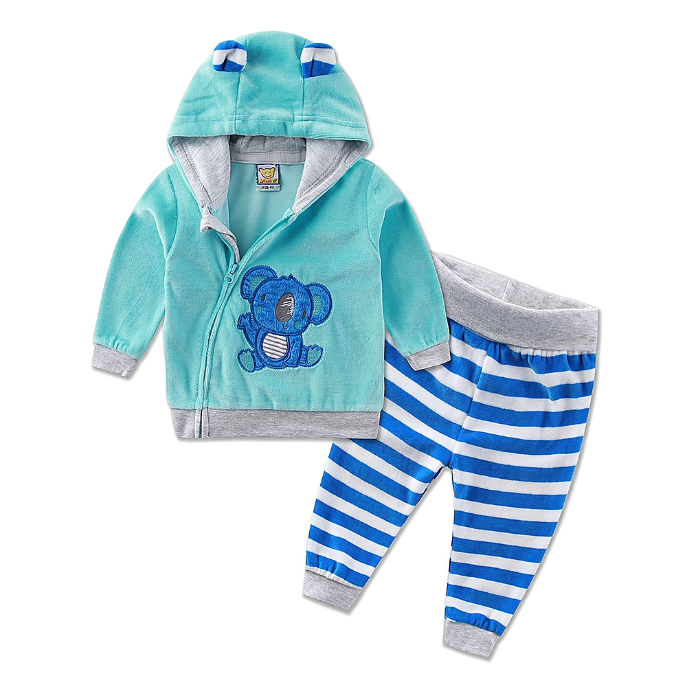 Image 3 - 2019 new hot children sports girls boys set velvet casual winter spring warm hooded zipper long sleeve outfits baby kid clothes-in Clothing Sets from Mother & Kids