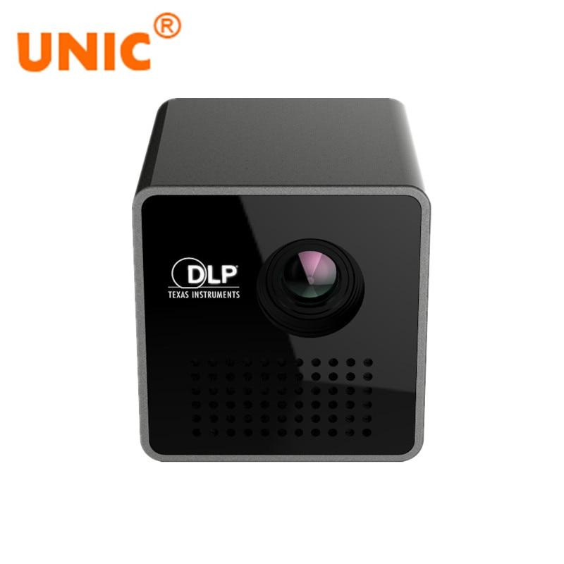Unic оригинальный P1 + WI-FI Беспроводной Smart LED мини-проектор Поддержка Miracast DLNA 30 Lumes ручной видео proyector