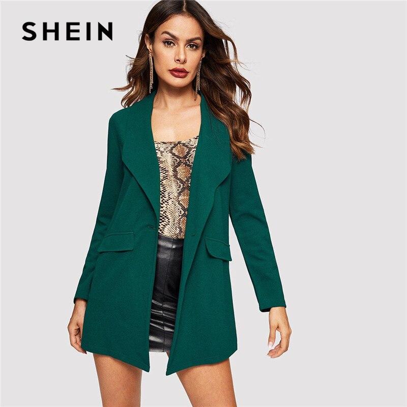 SHEIN Green Drop Shoulder Single Shawl Collar Buttoned Pocket Coat Women Fashion 2019 Autumn Office Ladies Solid Coats Outerwear