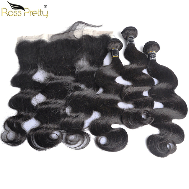 Ross Pretty Hair Bundles With Frontal Baby Hair Pre Plucked Peruvian Body Wave Hair Weave with Frontal Grade Remy Human Hair