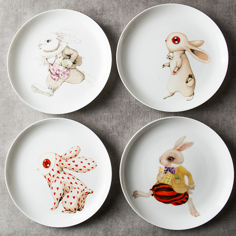 8 Inch Ceramic Dishes Amp Plates Round Rabbits Printed In