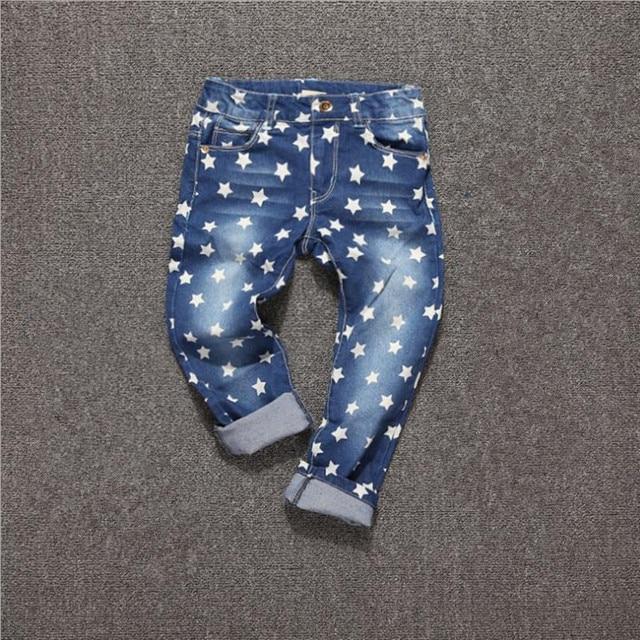 Новый 2017 Весной девочка мальчик джинсы Звезды Случайные Джинсовой брюки для девочек Хорошее Качество дети джинсы Дети длинные брюки 2-10Y