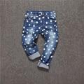 Novo 2017 Primavera Do Bebê da menina do menino calças de brim Estrelas Casual Denim calças para a menina Boa Qualidade crianças jeans Crianças calças compridas 2-10Y