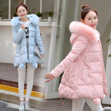 New Winter Female Pure Color Irregular Down Jacket High Quality Hooded Fake Fur Collar Zipper Jacket  Big Yards Slim S07 Fashion