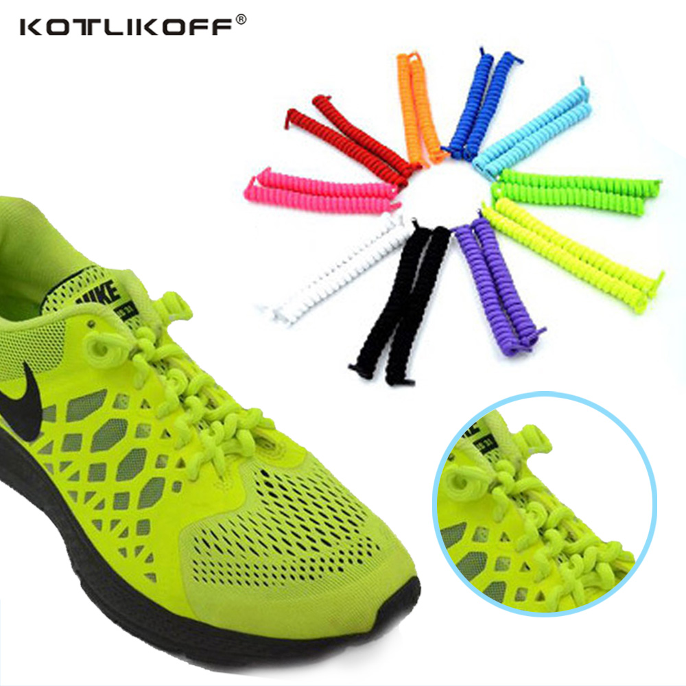 KOTLIKOFF 3 Pairs Hot Selling No Tie Shoelaces 11 Candy Color Locking Shoe Laces Spring Curly Stretch Elastic Shoe Laces