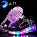 Sapato de rodinha size27-43 led crianças shoes com rodas luminosas sapatilhas meninas meninos roller skate shoes para crianças