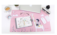 600 360mm Kawaii Pink Table Pad Girls Soft Writing Mat Large Computer Keyboard Mat Cute Mouse