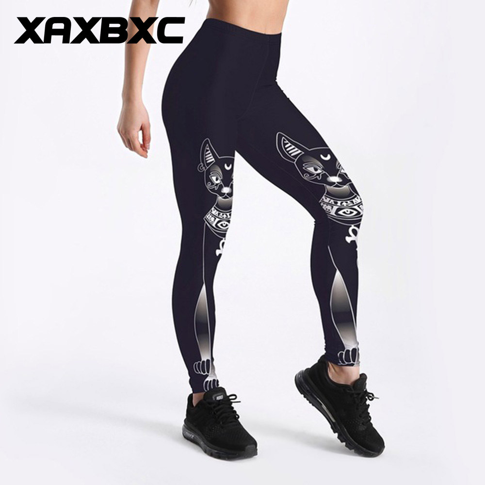 C3505 Girl Goddess Bastet Black Cat Cross Prints Elastic Slim GYM Fitness Women Sport Le ...