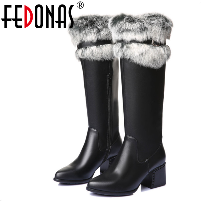 FEDONAS Women Autumn Winter Warm Genuine Leather High Boots Quality Rabbit Fur Knee High Snow Boots Brand Shoes Woman Big Size fedonas top quality winter ankle boots women platform high heels genuine leather shoes woman warm plush snow motorcycle boots