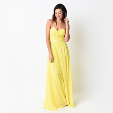 Yellow Long Chiffon Bridesmaid Dresses Sweetheart Pleated Lace-up Floor Length Custom Made