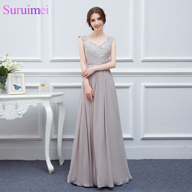 Free Shipping Gray Bridesmaid Dresses Long Chiffon High Quality Embroidery  Back Nude See Through Brides Maid