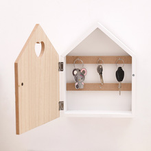 1pcs Wooden Key Hanging Wall Rack Modern Simple Style Cartoon Pattern Hook  Type Key Box Cabinet