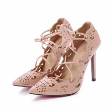 Women Shoes Pumps Gold and White Heels Sexy High Heels Party Wedding Shoes Hollow Lace-up