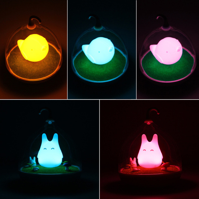 Umiwe The Spiderwick Totoro Rechargeable Creative Touch Vibration Sensor  USB LED Baby Night Light Bedside Lamp