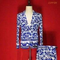 Plus Size S 4XL High End Satin Stretch Fabrics Men Blue And White Porcelain Suit Set