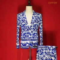 Plus Size S 4XL High End Satin Stretch Fabrics Men Blue And White Porcelain Suit Set