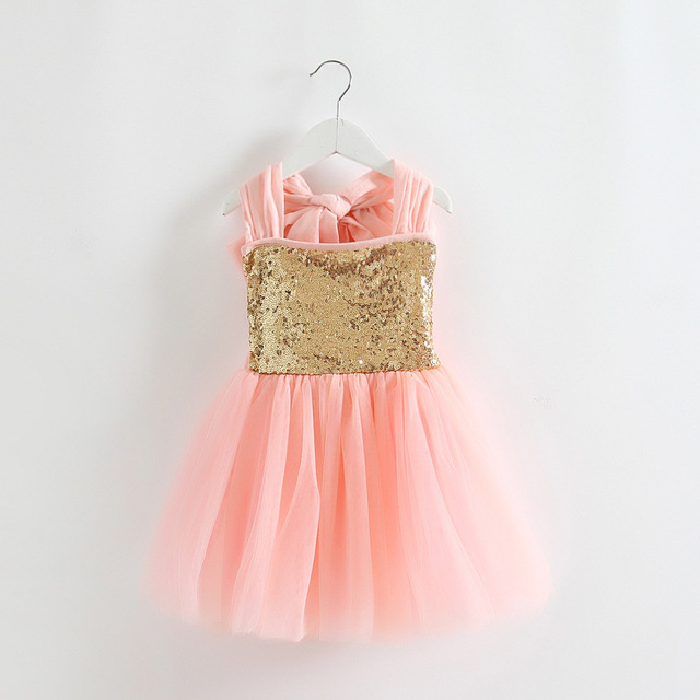 b558065d Baby Girls Tulle Lace Sequins Party Dresses Kids Girl Summer Halter Bowknot  Backless TuTu Princess Ruffle Dress Babies Clothes