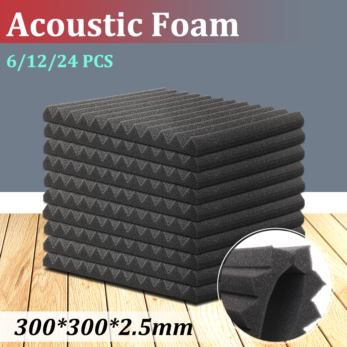 6Pcs/12Pcs Soundproofing Foam Studio Acoustic Foam Panels Sound Treatment Absorption Wedge Tile for KTV Audio Room 300*300*25mm все цены