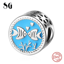 SG New Arrival animal charm Kissing fish Beads 925 Sterling Silver Fit pandora bracelets Jewelry Accessories