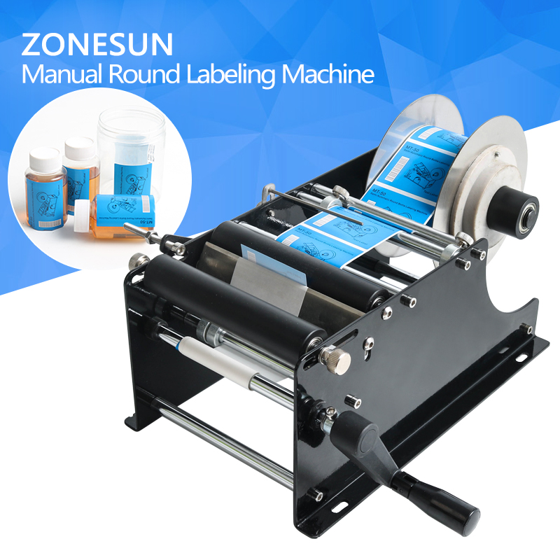 ZONESUN Simple Manual Handy Round Bottle Labeling Machine manual round bottle labeler,label applicator for PET plastic bottle