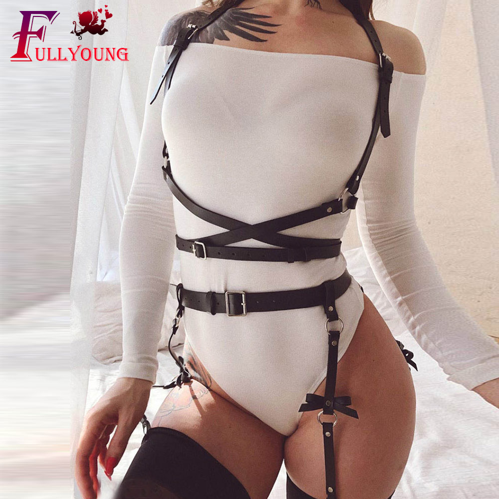 Fullyoung 2PCS Sculpting 2pcs Garter Sets For Women Waist Belt With Chest Harness Punk Strap Body Suspenders Harajuku Belts