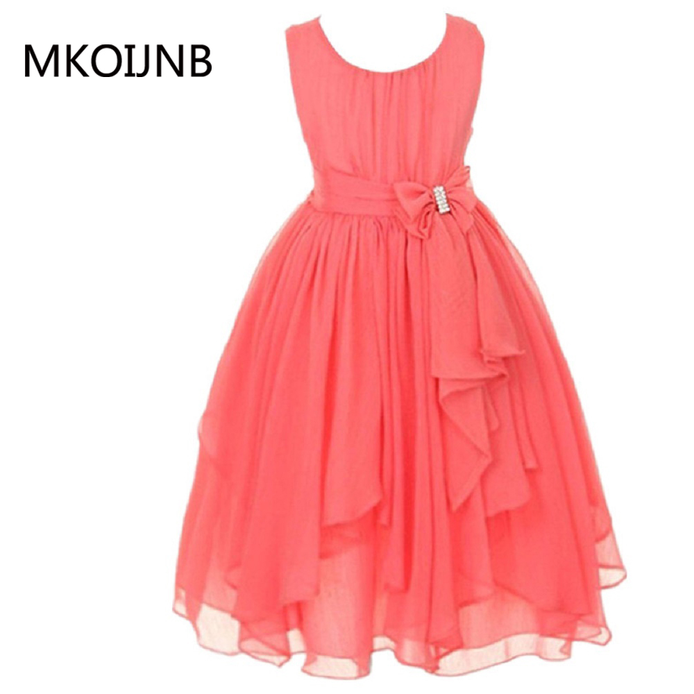 Kids dresses for girls O-neck Sleeveless Spring Summer dress Floral Bow Gown Party Dresses One Piece Daily Dress for 4 ~ 14 year женское платье summer dress 2015cute o women dress