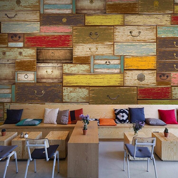 Bar Custom Wood And Woods: Custom 3d Color Wood Drawer 3D Wallpaper Theme KTV Bar