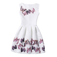 2017 New Year Kids Summer Christmas Princess Flowers Print Pattern Party Girls Dress Children Clothes Baby