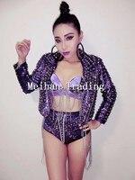 Purple Sequins Glisten Rivets Jakcet Outfit Bra Short Tassel Costume Stage Performance Clubwear Rhinestone Chains Jazz Dance