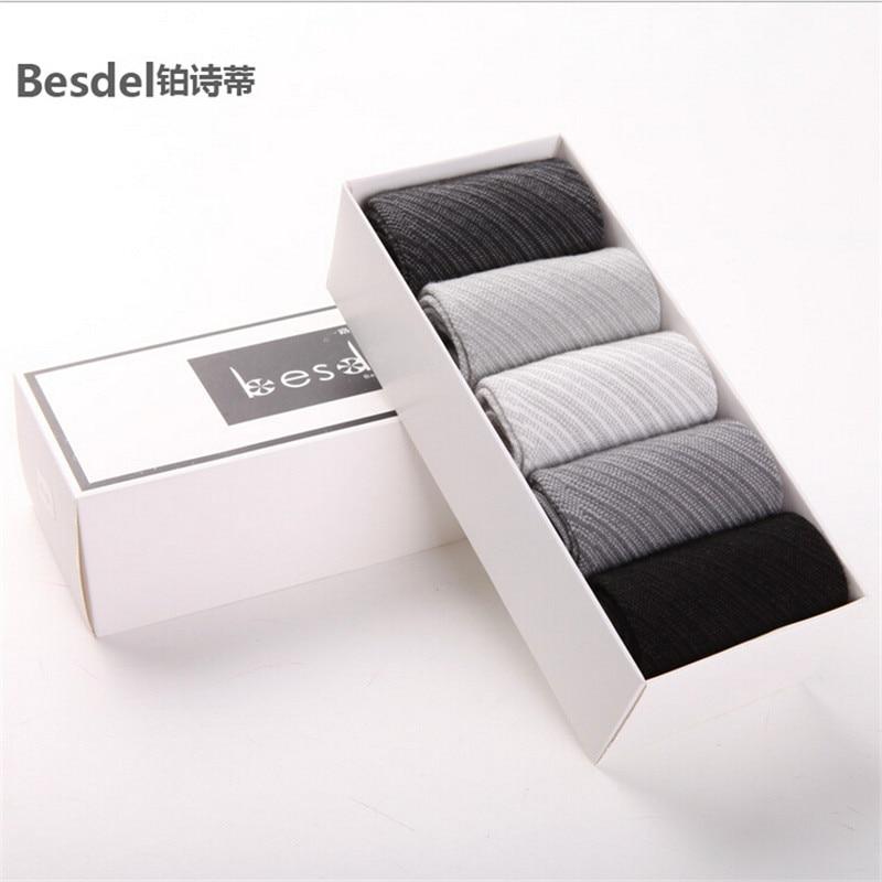 5 Pair / Lot Brand MenS Socks Winter Mens Business Socks Bamboo Fiber MenS Socks Deodorant Solid Color Bamboo Meias A2120