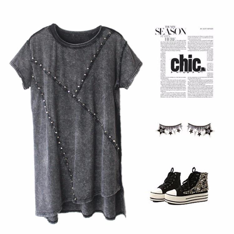 Модные женские топы с заклепками, женские футболки, женские футболки в стиле панк, длинные женские футболки, женская одежда