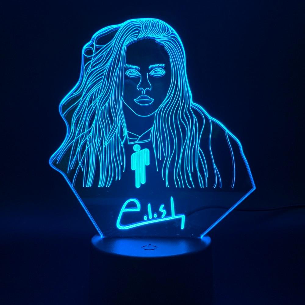 3D Illusion Led Night Light Lamp Billie Eilish Figure Bedroom Decor Desk Lamp Dropshipping 2019 Fans Gift Nightlight Celebrity