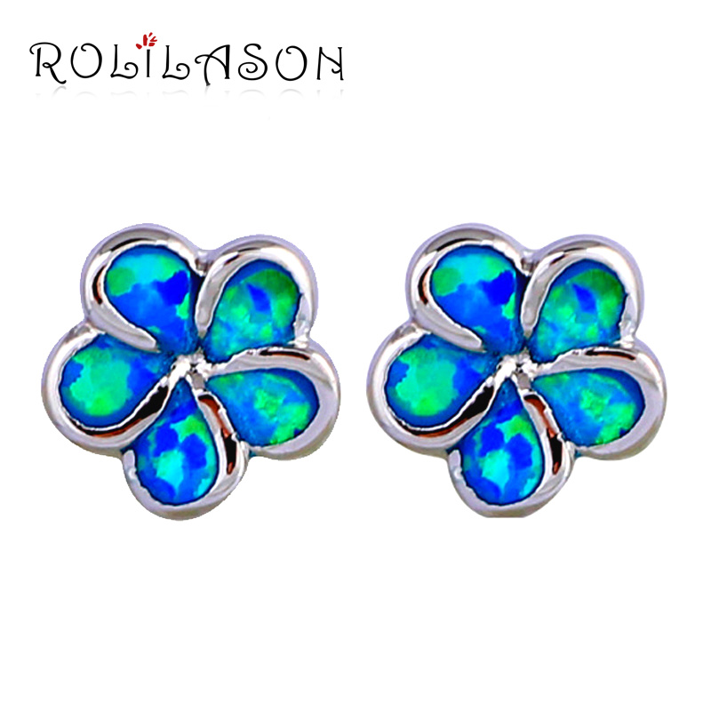 Trendy style Imperial crown earrings Blue Fire Opal Silver Filled Wholesale & Retail Fashion Jewelry Stud Earrings OE566 pair of hot sale stunning fashion style magnetic crown shape stud earrings