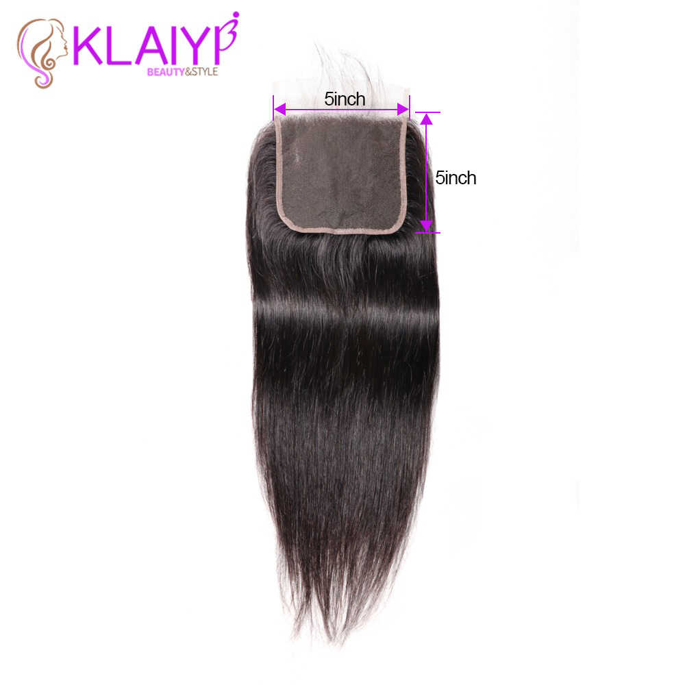 KLAIYI Human Hair Closure 5*5 Straight Closure 8-18inch Lace Closure Brazilian Remy Hair Swiss Lace Closure Natural Color